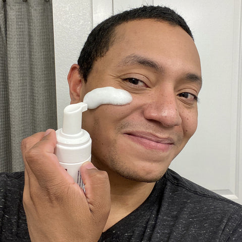 Anthony trying the 23.5°N Rice Soothing Cleansing Foam