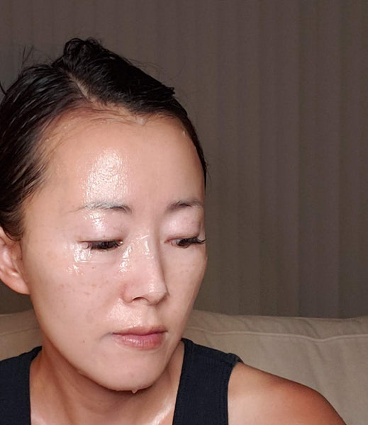 Jude Chao Wearing a Sheet Mask
