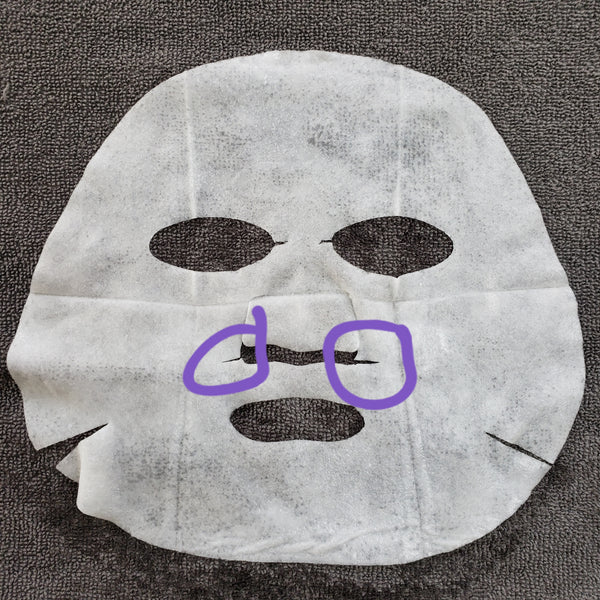 Cut Slits on the side of the nose flap of a sheet mask to improve the fit