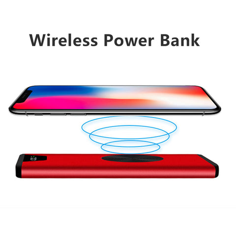 Qi Wireless Charger Power Bank 10000mAh  Portable External Battery For iPhone X 8 Plus Samsung S8 S9 Plus Wireless Charging led