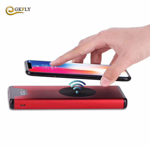 GKFLY High Capacity QI Wireless Charging Power Bank For iPhone X 8 Samsug Dual USB Power With digital display LED Light