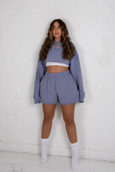 Washed Blue Cropped Sweater