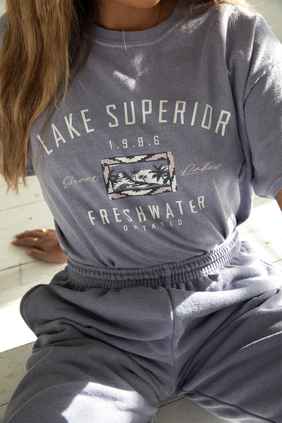 Lake Superior Washed Blue Tee