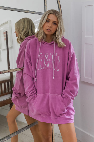 Cali Washed Dark Pink Hoody