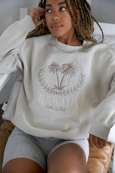 Hawaii Embroidered Washed Sweater