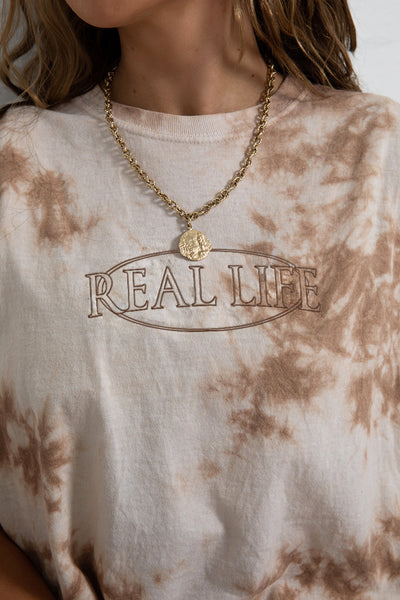 Real Life Embroidered Tie Dye Tee