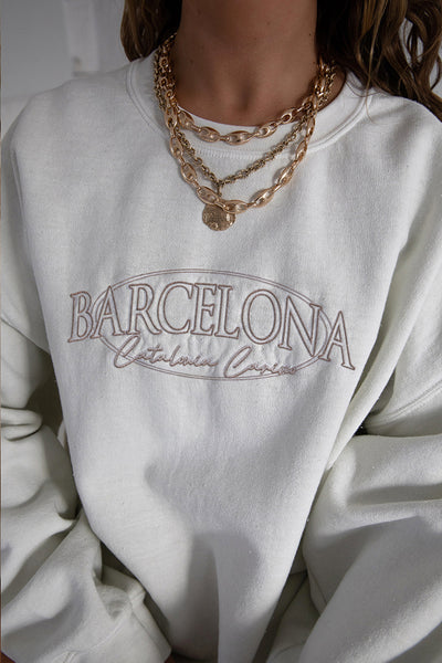 Barcelona Embroidered Washed Sweater
