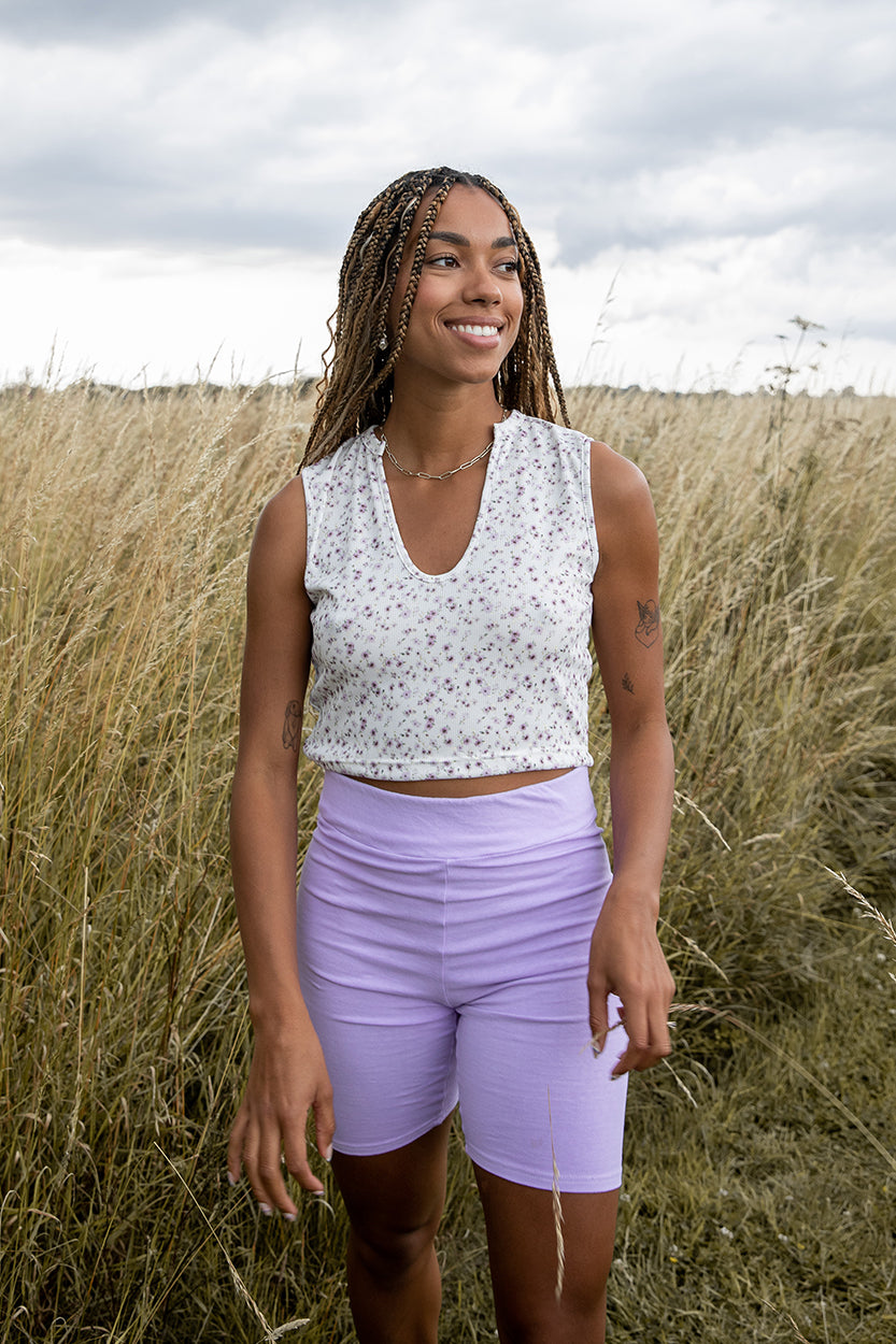 Lilac High Waisted Cycling Shorts