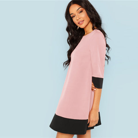 Pink Colorblock Dress