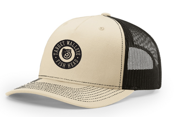 Target Walleye Circle Fish Head Richardson Trucker Twill Mesh Snapback Cap