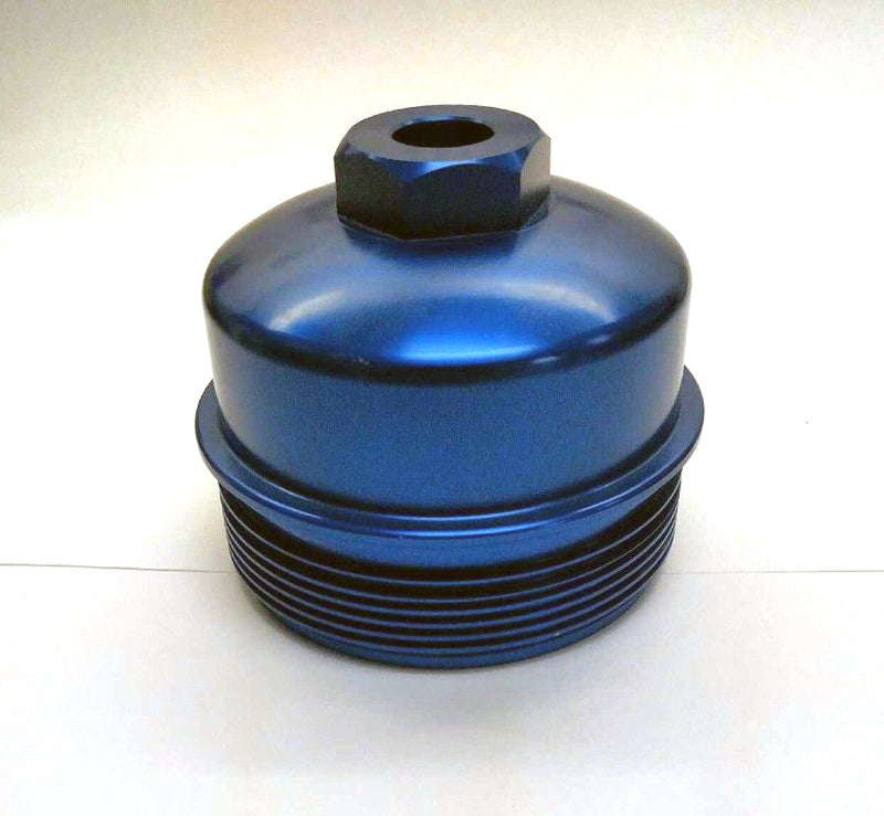 6.0L Ford Powerstroke -Aluminum Fuel Filter Cap & Oil Filter Cap Blue