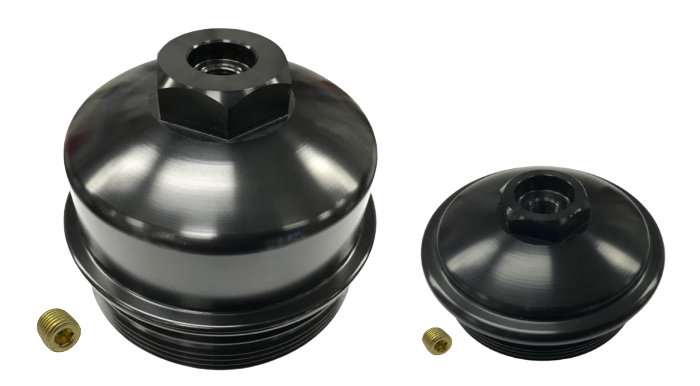 6.0L Ford Powerstroke -Aluminum Fuel Filter Cap & Oil Filter Cap Black