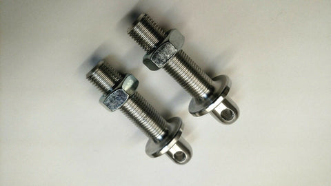 "HOOD PINS with SHOULDER 2"" Long RACE CARS, ALUMINUM 2 PCS"