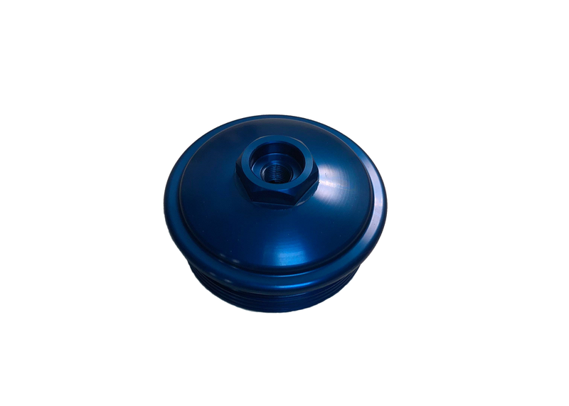Blue anodized fuel filter cap with NPT port for ford 6.0 powerstroke