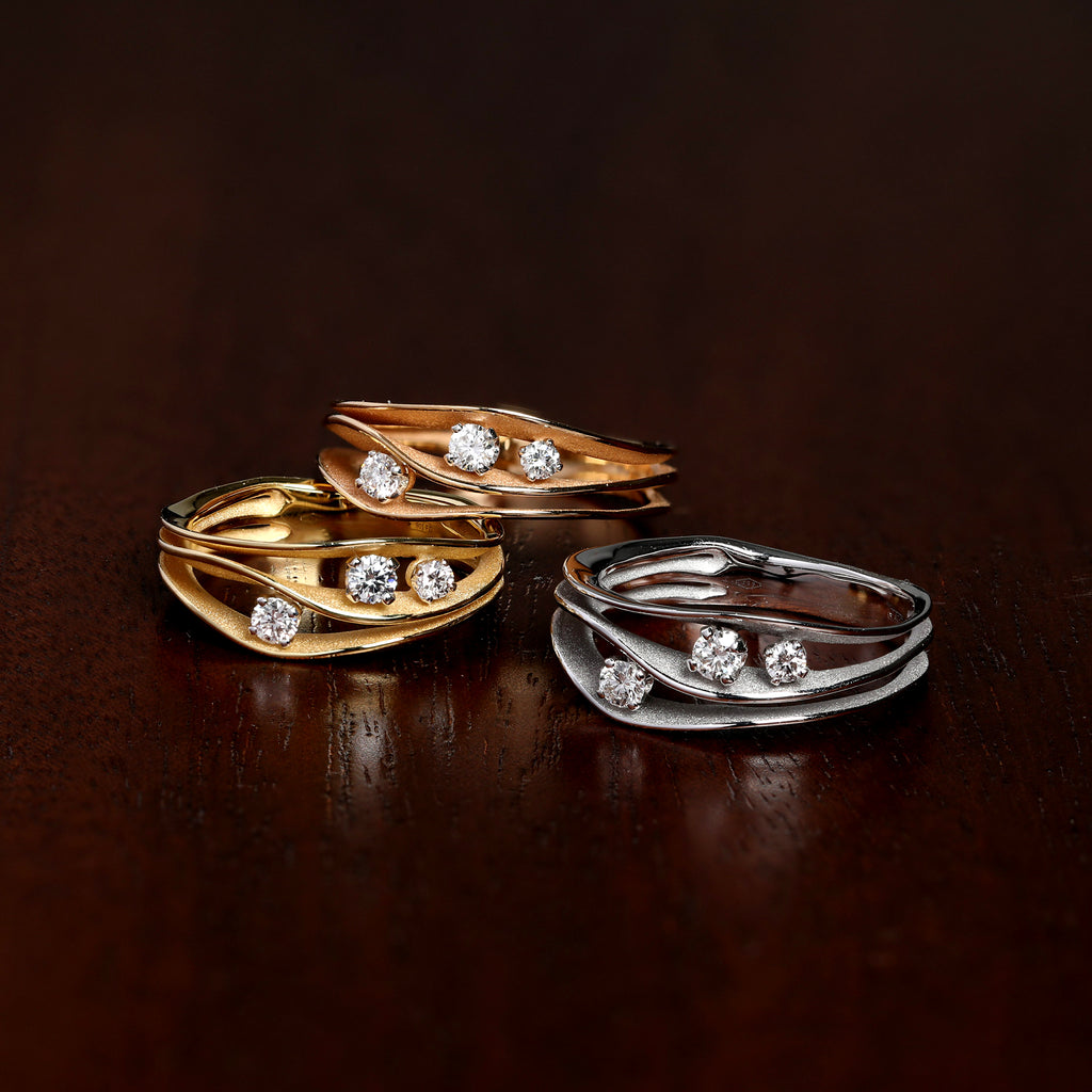 Three Anna Maria Cammilli Rings Mixed Metal Fashion Rings with Diamonds