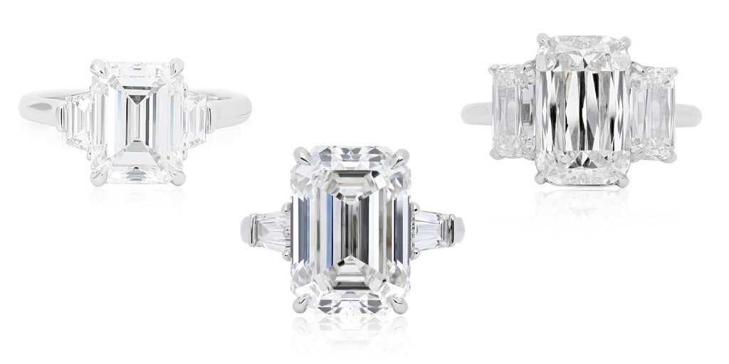 engagement ring trends, tapered baguette diamonds, emerald cut diamonds ring