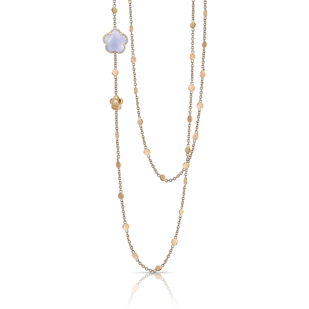 18K Rose Gold Bon Ton Collection Blue Chalcedony and Diamond Necklace