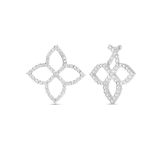 18K White Gold Princess Flower Diamond Earrings