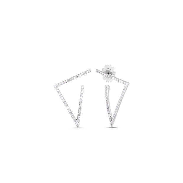 18K White Gold Classic Diamond Petite Triangle Hoop Earrings