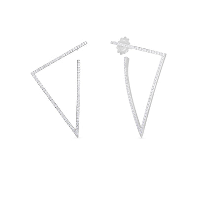 18K White Gold Classic Diamond Triangle Hoop Earrings