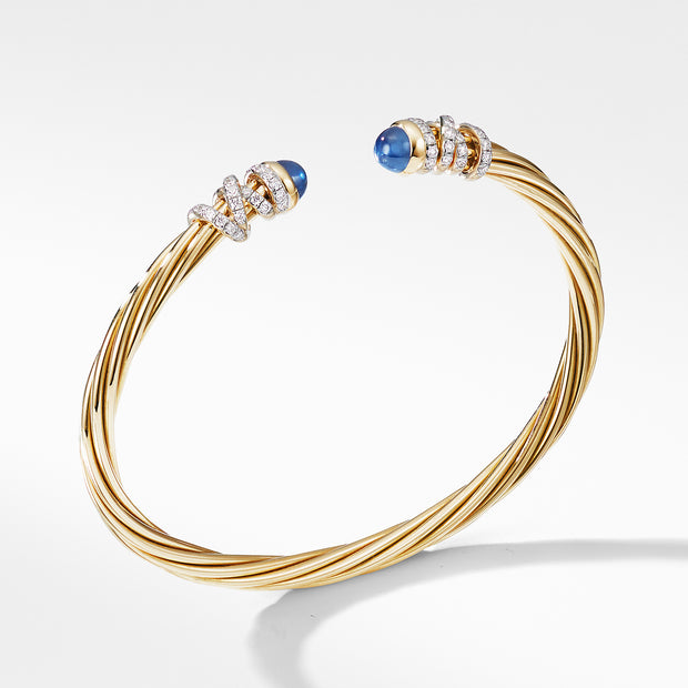Helena End Station Bracelet in 18K Yellow Gold with Blue Sapphires and Diamonds