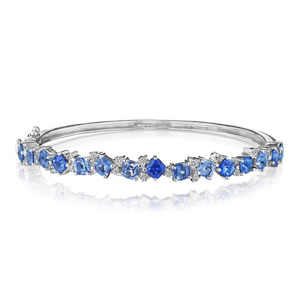 White Gold Cluster Bangle with Diamonds and Blue Ombre Sapphires
