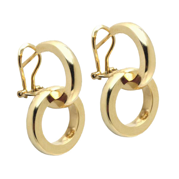 18K Yellow Gold Duetto Collection Circle Earrings