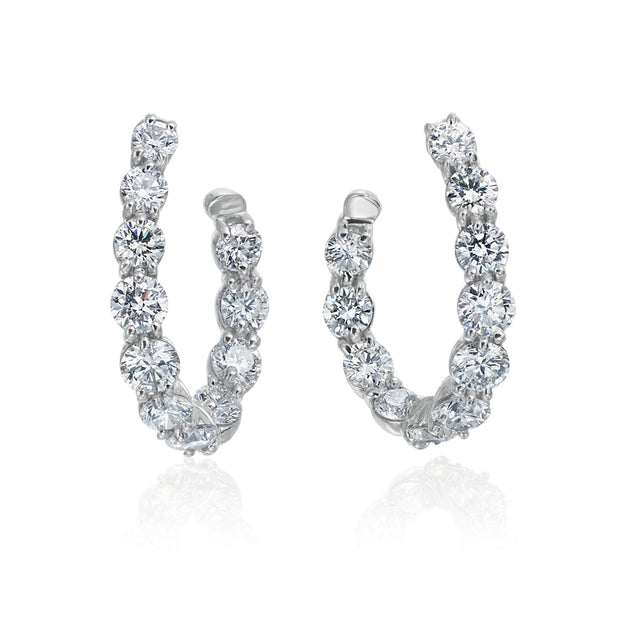 18K White Gold New Moon Collection Diamond Hoop Earrings