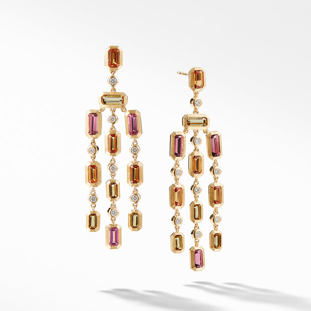 Novella Earrings in Faceted Spessartite Garnet and Pink Tourmaline with Diamonds