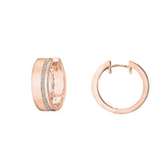 18K Rose Gold Diamond Moderne Deco Wide Huggie Earrings