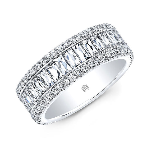 18K White Gold Three Row Diamond Band