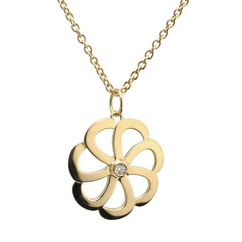 18K Yellow Gold Flora Collection Pendant Necklace