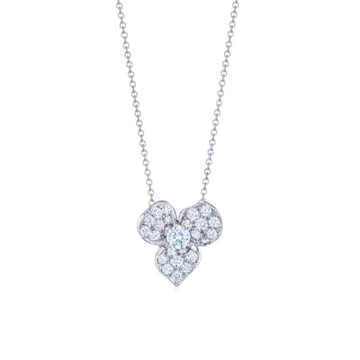 18K White Gold Floral Diamond Pendant Necklace