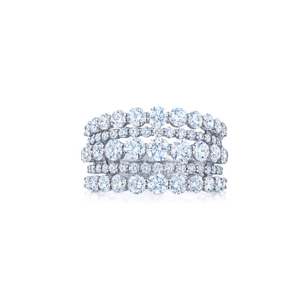18K White Gold Five Row Diamond Ring