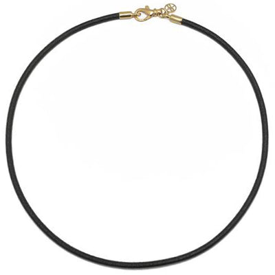 18K Yellow Gold and Black Leather Cord Necklace