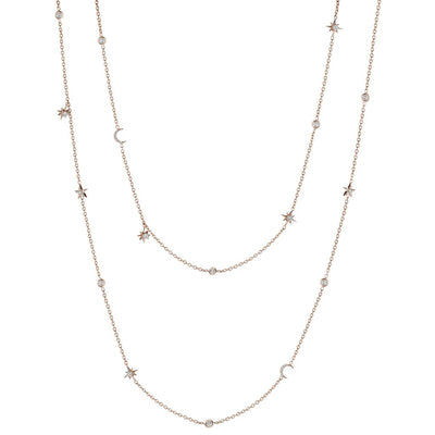 18K Rose Gold Star and Moon Diamond Eyeglass Chain Necklace