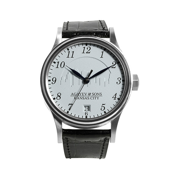 40mm Watch with Stainless Steel Case Containing a Silver Dial with Kansas City Skyline Imprint on a Black Alligator Strap