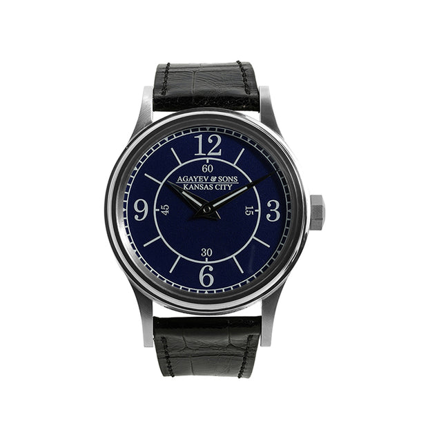 Agayev & Sons 40mm Watch with a Stainless Steel Case and an Enamel Boat Dial on a Genuine Black Alligator Strap