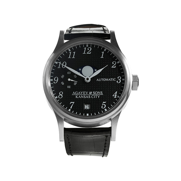 40mm Stainless Watch with Black Dial