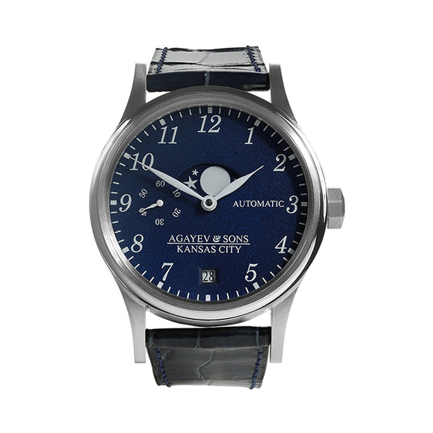 Agayev & Sons 40mm Watch with a Stainless Steel Case Containing a Blue Dial with a Moon Phases Sub Dial, Sub Seconds Dial, and a Date Display on a Genuine Blue Alligator Strap