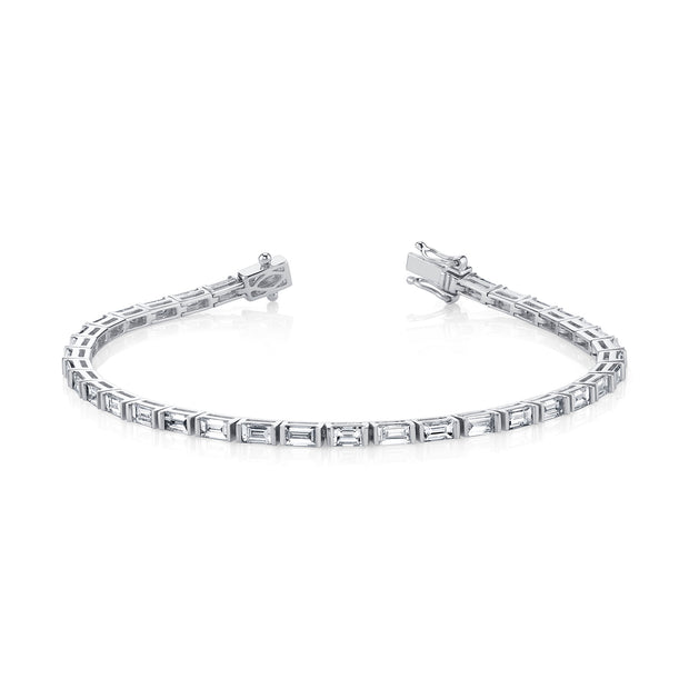 18K White Gold Baguette Diamond Tennis Bracelet