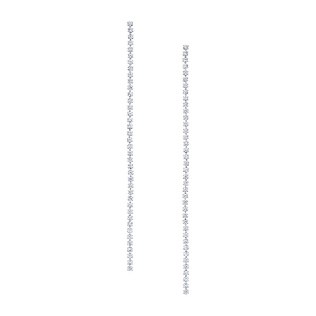 18K White Gold Hepburn Diamond Long Drop Earrings