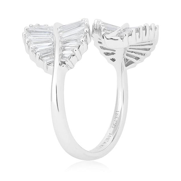 18K White Gold and Diamond Leaf Station Ring