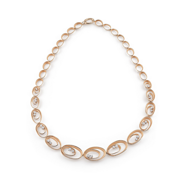 18K Orange Apricot Gold Collier Dune Collection Diamond Necklace