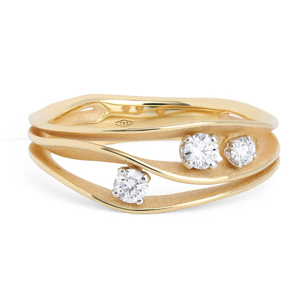 18K Sunrise Yellow Gold Dune Collection Diamond Ring