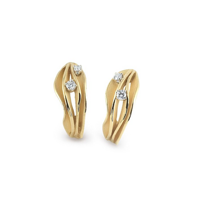 18K Yellow Sunrise Gold Dune Collection Diamond Earrings
