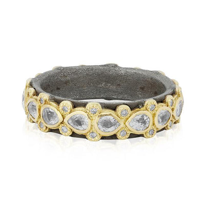 Armenta White Sapphire Ring Sterling silver 18K Yellow Gold