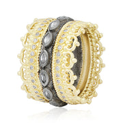 Blackened Sterling Silver and 18K Yellow Gold Old World Collection Sapphire And Diamond Ring
