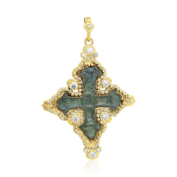 18K Yellow Gold Sueno Collection Diamond Cross Pendant