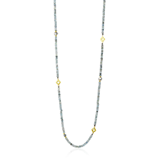 Blackened Sterling Silver and 18K Yellow Gold Old World Collection Aquamarine Necklace